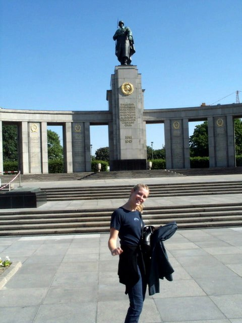 Shauna Looking Kute in front of a Very Imposing Russian Military Monument