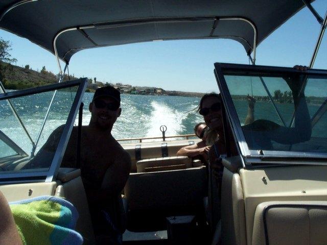 Jeff & Lisa As We Speed Through the Turgid Waters...