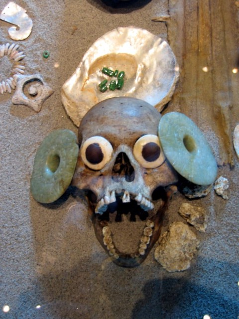 An actual freaky-as-hell, decorated-to-scare-the-crap-out-of-you-and-give-you-bad-dreams skull of some guy who wishes he'd done something else that day
