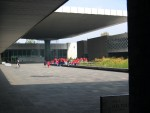 The interior of the courtyard of the Anthropological Museum.  A good geometry foto.