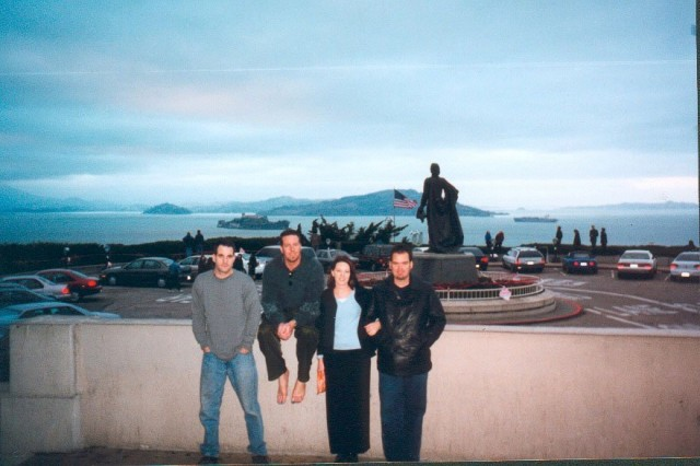 Hooligans at Coit Tower (With Alcatraz in the Background)