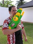 Polish guy alert.  Doesn't know it's just a water gun.